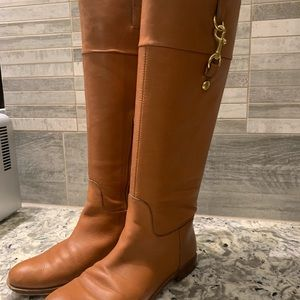 Coach tan classic riding style boots